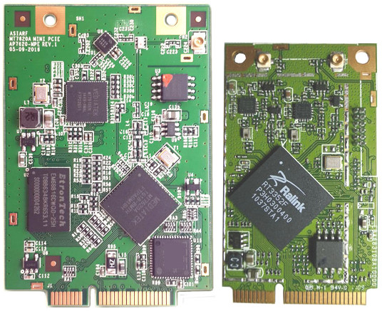 OpenWrt router card plugs into a mini-PCIe socket