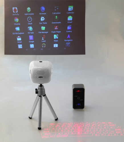 Android pico projector doubles as mini pc for Small pc projector