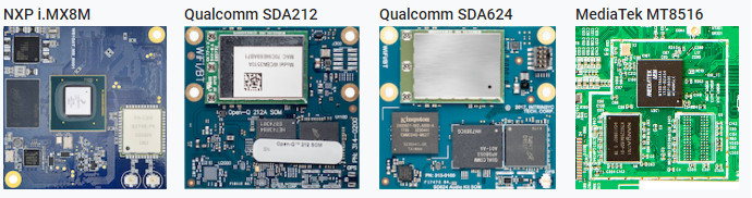 Four Android Things production boards span Cortex-A7, -A35, and -A53