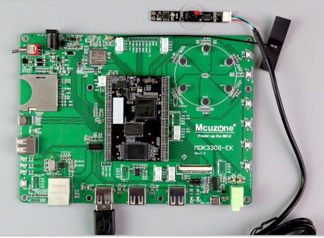 Voice boards run Linux on Cortex-A35 based RK3308