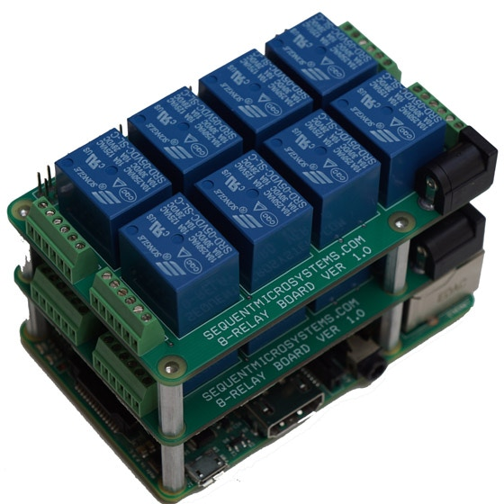 Stackable 8-relay add-on supports up to 64 relays per ... on