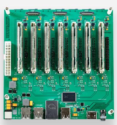 Cluster platform supports seven Raspberry Pi Compute Modules